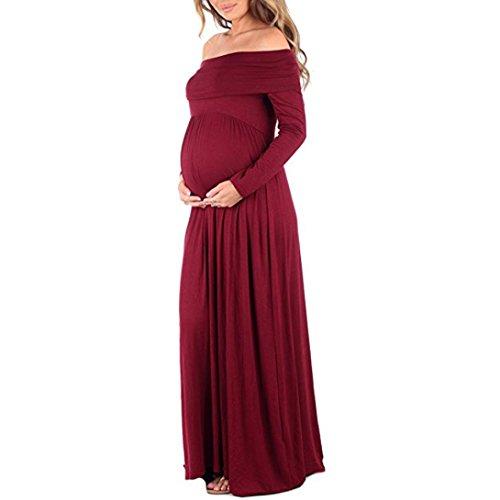 Nursing Dress,Han Shi Women Cowl Neck Pregnants Props Off Shoulders Slash Neck Boho Gown (XL, Red)