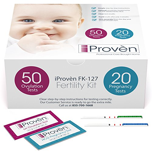 51NbfUro9KL - Ovulation Test Strips and Pregnancy Test Kit - 50 LH and 20 HCG - OPK Ovulation Predictor Kit iProven FK-127