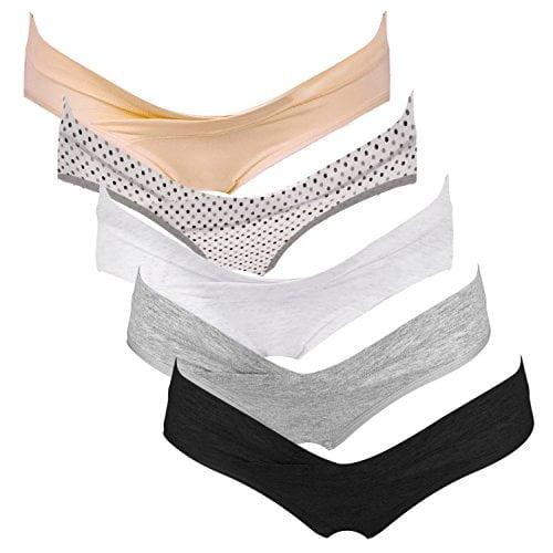 514qskCZ4jL 1 - Intimate Portal Women Under the Bump Maternity Panties Pregnancy Underwear 5-pk Neutral Colors Medium