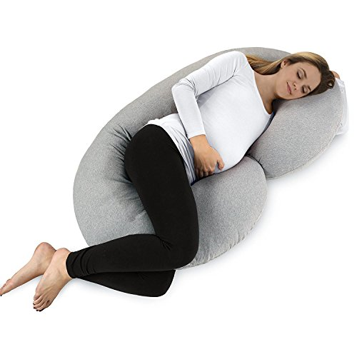 Dream C Shaped Body Pillow – for Pregnant Women – Side Sleeping – Nursing – with Double Zipper – Removable Comfortable Jersey Cover – Grey