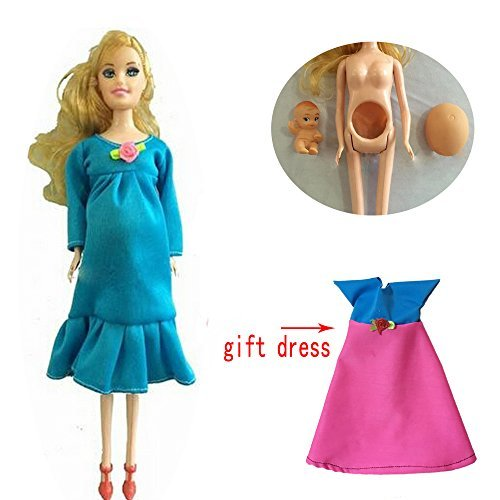 Blue Real Pregnant Doll Suits Mom Doll Have a Baby In Her Tummy For Barbie dolls