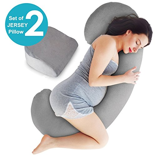 51cTrWjYYrL - Full Body Maternity Pillow - Baby Nursing Cushion & Maternity Pillow for Pregnant Women - Belly & Back Support Cushion Made of 100% Cotton Pillow Cover - C Shaped