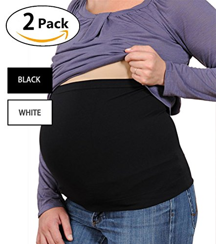 51gDHtoF1IL 1 - Womens Maternity Belly Band Seamless 2 Pack Everyday Support Bands for Pregnancy White,Black S